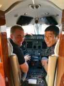 Sam and Horace in the Ward Kraft corporate jet cockpit